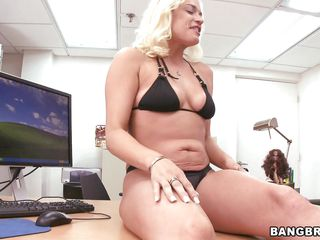 Blonde milf Cameron goes wild and starts masturbating on the desk. she takes off her black bra and panties, spreads her long sexy legs and shows us a delicious shaved pussy. Cameron stuffs her shaved vagina with that dildo after sucking it and does her best in exciting us