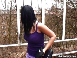 `Watch this brunette chick Carmen Black, who is having an adventurous sex in a public place. There in outdoors, she is showing her nice small tits. She is feeling shy while showing that shaved pussy! After a bit, she is relaxed and smiling; and starting to suck the guy's cock with pleasure!`