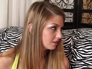 Staci Silverstone has just turned eighteen but her boy friend is not sure that she is eighteen years old. She shows her Identity card as a proof, as there is no body at home so she wants her birthday gift from her boy friend. He kisses her and then unzip his pant to show his big hard cock. After passionate kissing he removes her shirt and exposes her nice tits.