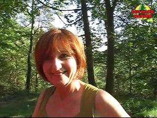 Yvonne is a sexy redhead mature that loves the outdoor, that's why when a blowjob opportunity appears, she takes it. She suck that dick like a pro, with no worries that someone else could drive on that road.