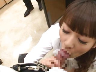 Meru was down on her knees sucking my cock when our colleague caught us. She went at him and kneed in front of his dick to give him a suck too. She is our favorite female employee because Meru has absolutely no problem sucking our hard dicks. She gives us a well deserve break from all that hard working.