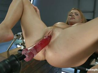Here's a busty blonde milf that loves being penetrated hard and deep by a dildo, lucky for her that dildo is attached on a fucking machine so she gets what she wants and those boobs are bouncing as the sex toy drills her shaved cunt. She's such a slut and wants even more so she rubs her clitoris with a vibrator!