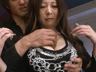 Her tits are sweet and soft, perfect for a hard cock between them. The guy plays with her boobs, gropes and squeezes them until it's time to take them out of her blouse. A few passionately kisses and nipples squeezing makes her ready for something more!