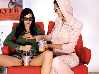 Mia and Adria are two naughty chicks who just wanted to have some fun. Watch them talking as they were trying to make out! Looks like, these lesbians are born to lick pussies. And they started undressing and playing with each others tits. They played with a dildo too. Let's see for far these babe went together!