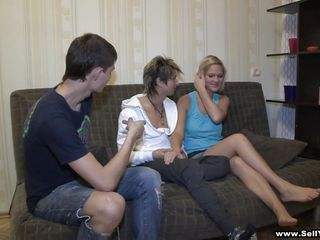 Hot bolnde marina is sitting reading but wants more and here comes her friends Andy and Dave and they ask her to play around a little sucking her boobs and fingering her.
