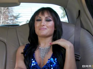 Look at this slutty brunette in her big limo talking to her driver. When her date comes in the car he tries to fuck her but she doesn't want that so the driver kicks his ass out and she rewards him by sucking his hard cock. Is he going to get some tight pussy also?