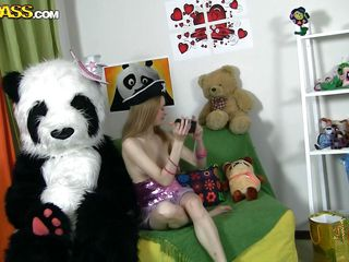 Panda is the best friend of a girl can have, he plays with her and does all short of stupid games but sometimes Panda wants to play a special game with his girl, a game that involves sucking and having no clothes. The cutie undresses revealing a slim sexy body with long legs and delicious tits and begins the game