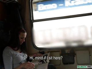 Mea is in the train, reading a magazine and this horny guy tries to sweet-talk her and film her hoping that he will fuck her sweet pussy. In the begining the girl is very shy but in the end she starts talking