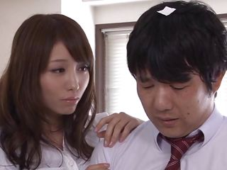 Arisu Miyuki has a young student come to her with a note. The horny slut rips it up and sits him on the bed, having him take out his dick. He eagerly obeys, tugging at it like a madman just like she tells him. She sucks a bit, then spreads her legs. Will he last long enough to get inside her?