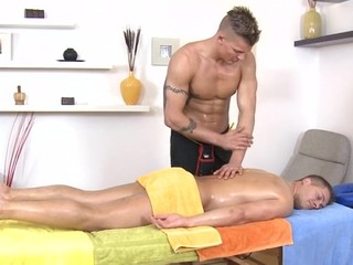 Metrosexual stud gets his rod sucked by gay masseur