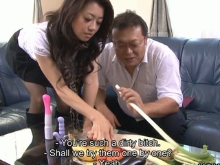 Horny Japanese hottie Sayuri Shiraishi meets up with one horny bloke for some nasty action. That Babe takes some vegetables and uses 'em to drill her moist bushy muff. Her guy bonks her with a corpulent sex toy previous to finger banging her hard.