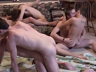 Many hot guys have fun fucking on group orgy