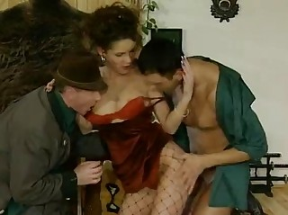 German Fishnet Brunette Plays With 2