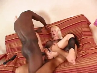 Busty slut in fishnet top does anal threesome