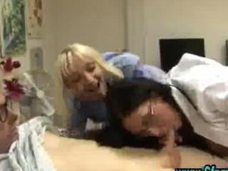 Cfnm femdom nurses give handjob