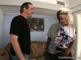 Hubby licks black dick through blond wife proxy paige