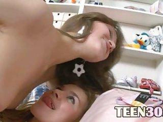 Lesbian schoolmates playing