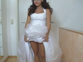Hotty in her wedding dress fucked hard