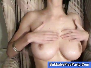 Busty cock loving bitch blowjob