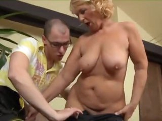 Mature and the young large cock have fun