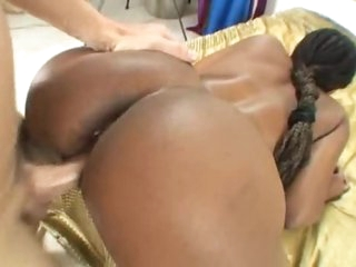 Black angel and the white cock have sex