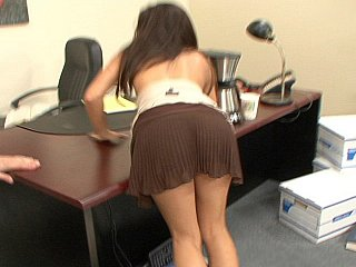 Sexy brunette hair office girl Ann Marie Rios